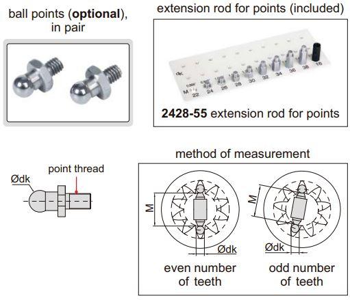 Dụng cụ đo lỗ bánh răng Insize 2428