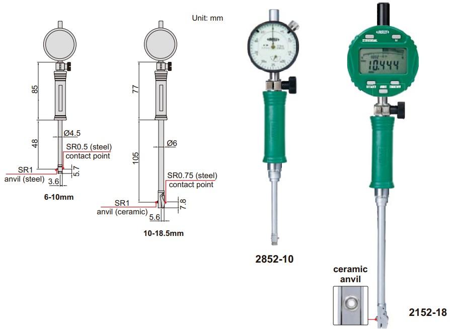 Đồng hồ đo lỗ cho lỗ nhỏ Insize