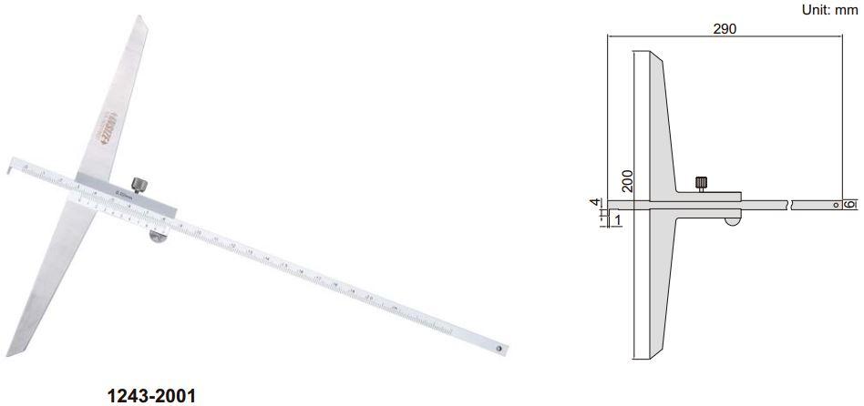 Thước đo sâu cơ khí loại ngàm móc Insize 1243