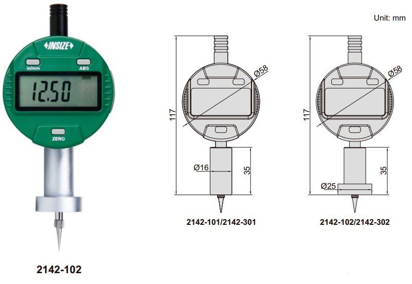 Đồng hồ đo độ sâu điện tử Insize 2142