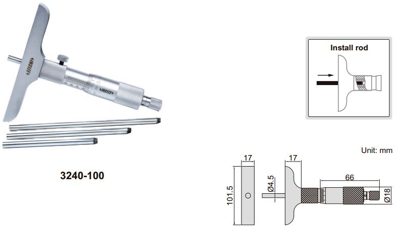 Panme đo sâu cơ khí Insize 3240