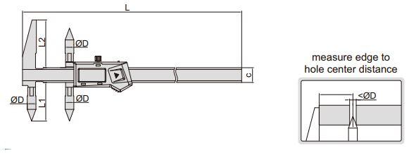 Thước kẹp điện tử đo khoảng cách tâm Insize (Không chống nước) 1525