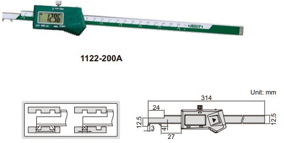 Thước kẹp điện tử đầu móc Insize (Không chống nước) 1122