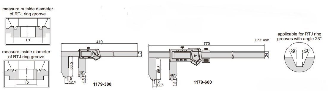 Thước kẹp điện tử đo khe/rãnh Insize (Không chống nước) 1179