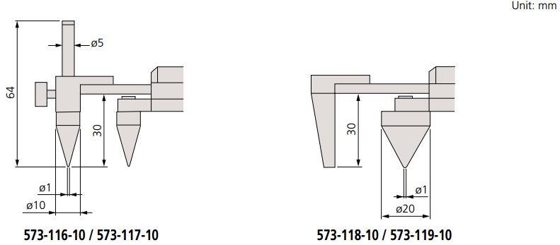 Thước kẹp điện tử mỏ ngược đo khoảng cách tâm Absolute Mitutoyo 573